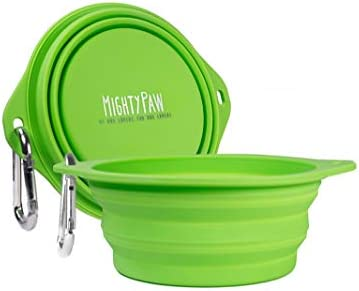 Mighty Paw Collapsible Travel Dog Bowl Set 2 Pack 27 Oz Food Safe Silicone Food Water Bowls product image
