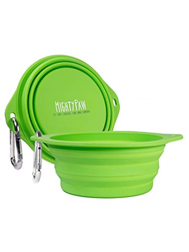 Mighty Paw Collapsible Travel Dog Bowl Set  2 Pack 27 Oz | Food Safe Silicone Food amp Water Bowls for Pets Bonus Carabiner Clip for Hiking Camping or Walking Lightweight amp LeakProof Green