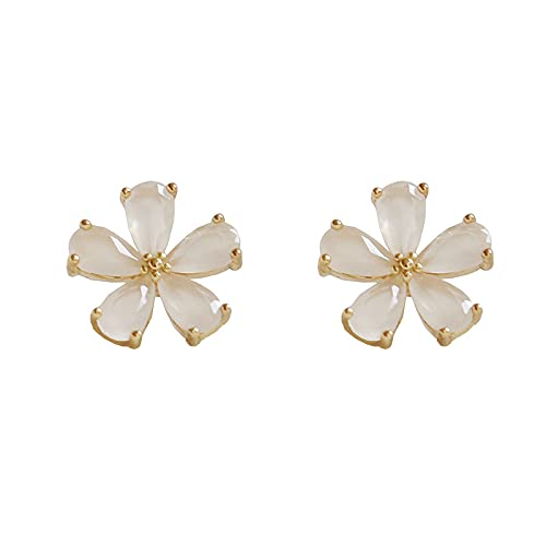 S925 hongo blanco como aretes personalizados de ópalo aretes de flores pequeñas aretes de moda aretes
