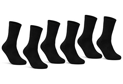 sockenkauf24 6 | 12 | 24 Paar THERMO Socken Damen & Herren Vollfrottee Schwarz Baumwolle mit Komfortbund (39-42, 6 Paar | schwarz)