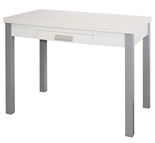 Mesa Cocina Extensible Mins Color Blanco 1 Cajon Apertura alas Pata Gris 76x100/160x60 cm