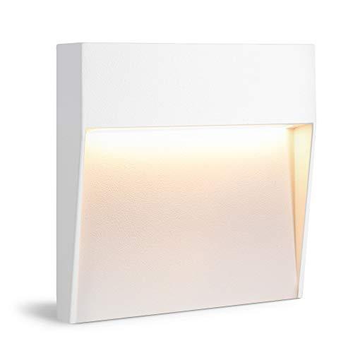 linovum Scara - Lámpara LED para escaleras o pared (IP54, para exteriores, 230 V, luz blanca cálida, 4,5 W, cuadrada), color blanco