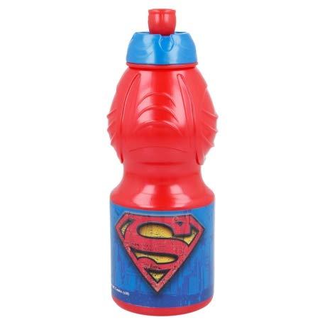 Borraccia Sport in plastica Bottiglia per Bambini 400ML con beccuccio retraibile (Superman)