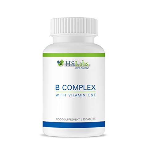 HSLabs Vitamin B Complex with Vitamin C E 11 Active Ingredients Vitamins B12 B6 Thiamin Riboflavin Niacin Folic Pantothenic Acid Biotin Anti Stress Immune System Support Energy Production 90 Tablets