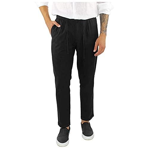 GenericBrands Taurner Pantalones Hombres De Moda Pantalón de Lino y Algodón con Cordones Pantalon de Vestir Casual Slim Fit Trousers