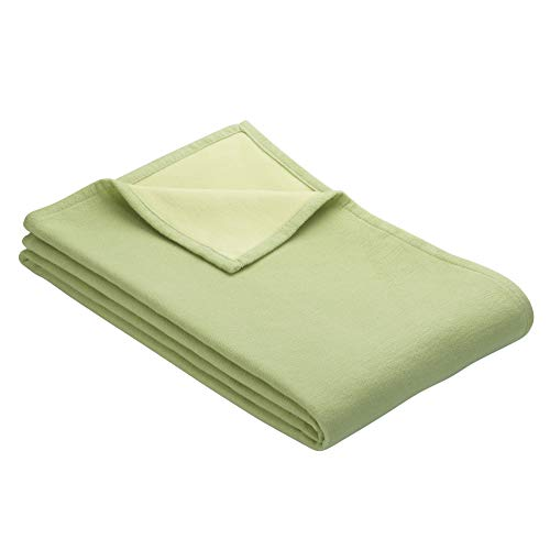 Ibena Stockholm Baumwolldecke 140x200 cm – Kuscheldecke grün hellgrün, 100% Reine Baumwolle, hochwertige Qualität Made in Germany