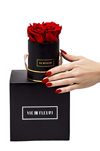 Vie Fleuri Classic Collection - Caja para Rosas con 4 Rosas de Infinito, Flores conservadas en Elegante Caja de Flores Negras