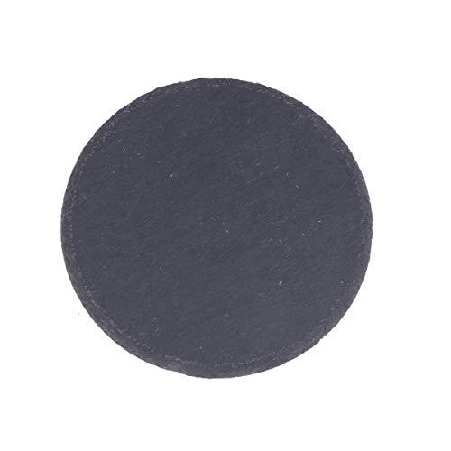 Cabilock - Piatto da portata in ardesia nero, 15 cm, per sushi, formaggio, bistecche, torte, dessert, piatto rotondo, piatto da tavola, per decorare ristorante, casa, banchetti