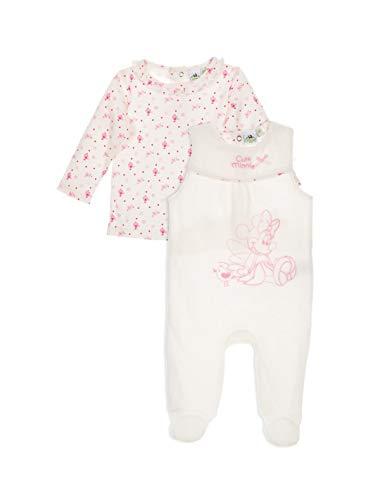 Minnie Coffret Salopette Velours et T-Shirt bébé Fille Blanc et Rose de 0 à 6mois - Blanc/Rose, 0 Mois