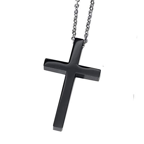 Beglie Halskette für Herren Kreuz Poliert Edelstahl Anhänger Halsketten Schwarz Herren Halskette Kreuz
