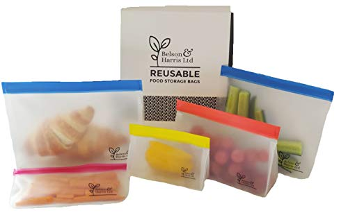 Belson & Harris Reusable Resealable Storage Bags: 5 Pack. Leak-proof, BPA-Free, Strong and Thick PEVA Material. Freezer Storage, Lunch bags, Sandwich Bags, Marinating, Hobbies, Stationary or Make-up