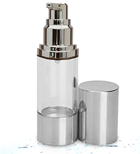 Sterile Airless Pump Bottle 1oz - Refillable Cosmetic Container – Best as Makeup Foundations and Serums - Lightweight Leak Proof & Shockproof Container. BPA Free