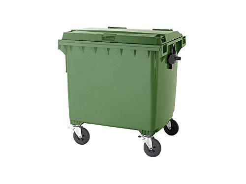 DIE BOX FABRIK Müllcontainer 1100 Liter MGB Flachdeckel grün, EN 840 | Großmüllbehälter mit Rollen (2 gebremst) Mülltonne Abfallcontainer Abfalltonne