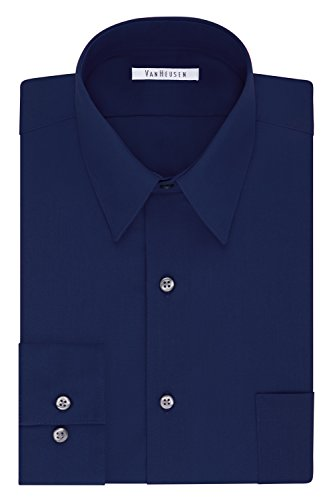 Van Heusen Men's Size FIT Dress Shirts Poplin (Big and Tall), Persian Blue, 19' Neck 37'-38' Sleeve (3X-Large)