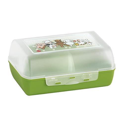 Emsa 513791 Brotdose für Kinder, Herausnehmbare Trennwand, Farmmotiv, Grün, Variabolo Farm Family