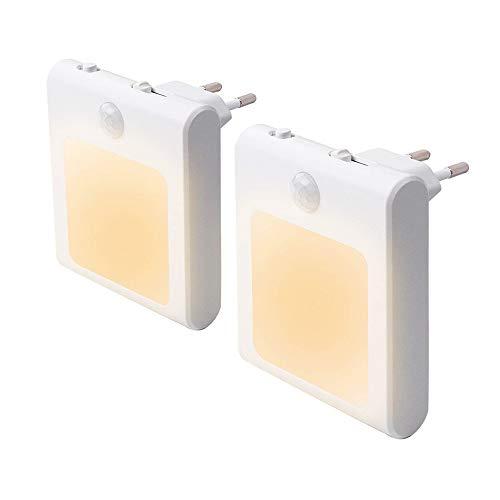 Preisvergleich Produktbild 2 Stück LED Nachtlicht Steckdose mit Bewegungsmelder,  Steckdosenlicht Helligkeit Stufenlos Einstellbar Orientierungslicht mit Auto,  On,  Off Schalter