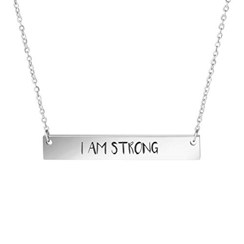 Awegift Personalized Pendant Bar Necklace Engrved I Am Strong Jewelry Gifts for Girls Women