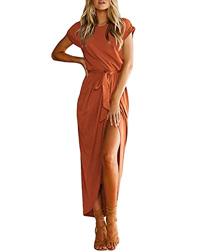 YOINS Sommerkleid Damen Lang Maxikleider für Damen Strandkleid Sexy Kleid Kurzarm Jerseykleider Strickkleider Rundhals mit Gürtel Langarm,EU44/L,Kaffee
