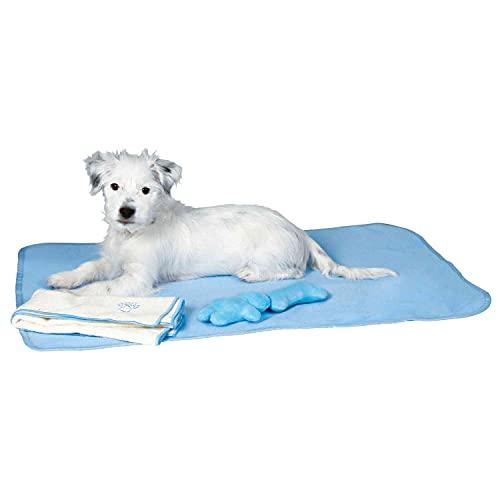 Trixie 15588 Welpen-Set mit Decke, Spielzeug und Handtuch, hellblau