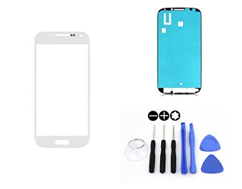 R.P.L. FRONTGLAS SET passend für SAMSUNG Galaxy S4 Weiss White i9500 i9505 i9506 i9515 / Frontglas / Glas / Displayglas / LCD Reparatur / LCD Display / Klebefolie / Glass Replacement / 8 - Teiliges Werkzeugset TOOLS
