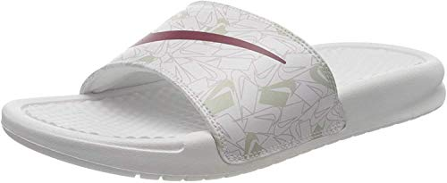 Nike Benassi JDI Print, Zapatilla de Correr Mujer, Summit Blanco/Spruce Aura/Iced Lilac, 36.5 EU