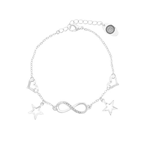 Caramel Jewellery London Bracciale Endless Love Infinity Charm Bracciale Placcato Argento. Paved Crystal Stars Good Luck Bracciale Bracciale Infinity Bracciale per Le Donne 19cm
