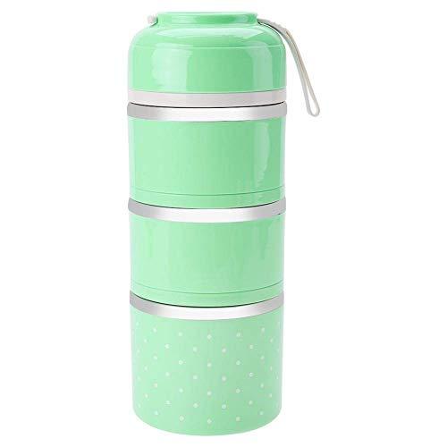 AMITD 3 lagen thermische brooddoos, draagbare thermische lunchbox roestvrij staal vershouddoos kinderen Bento Box eenvoudig te dragen (groen) Grün groen
