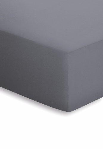 schlafgut Mako-Jersey Basic Spannbetttuch, Baumwolle, Graphit, 200 x 150 cm