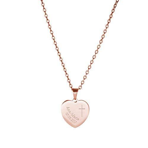 Gravado Halskette aus Roségold-Edelstahl mit Herz-Anhänger und Kreuz Gravur, Personalisiert mit Namen und Datum, inkl. Geschenkbox, Mädchen Schmuck