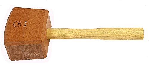 Ulmia 300-2 Holzhammer / Schreinerklüpfel 300-2 ~ Schlagkopf aus bestem, gedämpftem Rotbuchenholz, alle Kanten mit gefräster Faste, Stiel aus Eschenholz, eingeleimt und verkeilt ~ Schlagkopf: 140 x 80 x 110