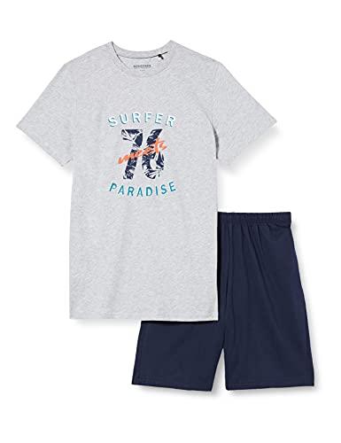 Schiesser Jungen kurzer Schlafanzug - Organic Cotton, grau-mel, 140