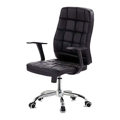 DGDF Boss - Silla de oficina con brazos de cuero para oficina, respaldo grueso/apoyo lumbar, barandilla ergonómica/alivio de presión