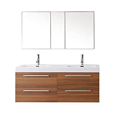 Virtu USA Finley 54 inch Double Sink Bathroom Vanity Set in Plum w/Integrated Square Sink, White Polymarble Countertop, Single Hole Polished Chrome, No Mirror - JD-50754-PL