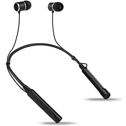 Groov-e Connect - Auriculares inalámbricos Bluetooth con Banda para el Cuello, 8 – 10 Horas de reproducción, Auriculares magnéticos, Bajos Ricos para Gimnasio/Deportes, Color Negro