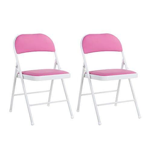 Dall Chaises Pliant Chaise en Métal Bureau Jardin Bureau Siège De Rechange Supplémentaire (Couleur : Pink)