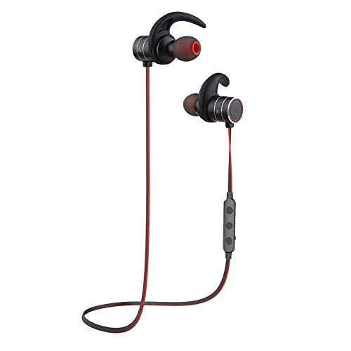 Bluetooth Headphones AWEI Wireless 4.1Smart Magnetic Switch Earbuds, Snug Fit for Sports with Built-in Mic IPX4 Waterproof, APTX Stereo, 10 Hours Playtime (Red Black)