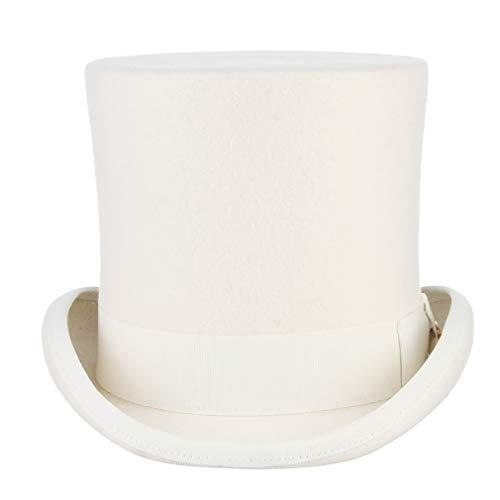 MARRYME Sombrero de Copa Hombre Mujer de 100% Lana de Fieltro Sombreros Fedora Sombrero Boda con Cinta Forro de Raso Invierno/Verano(M/Circunferencia 56-58CM, Blanco) ⭐
