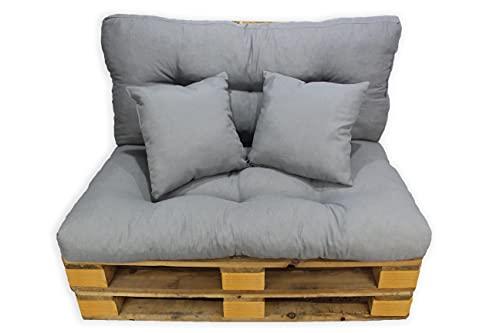Conjunto 4 Piezas Sofá Palets, Asiento Palet 120x80 cm + Respaldo + Dos Cojines. Cómodo y Elegante para Interior y Exterior (Gris)