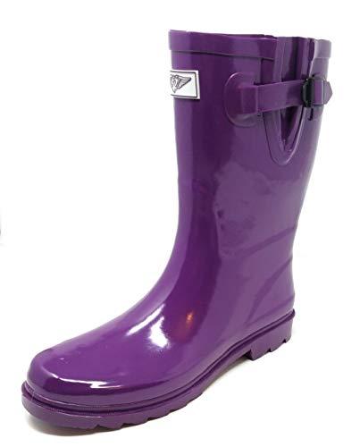 "Women Rubber Rain Boots - 11"" Mid-Calf Rain Boots for Women, Waterproof Outdoor Garden Shoes, Colorful Designs Wellies, Purple, Size 8"