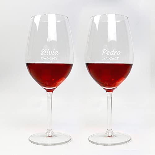 Pack 2 x Copa de Vino Tinto Personalizada de 53 cl con Nombre o Texto Personalizado · Original ideal para amigos y familiares