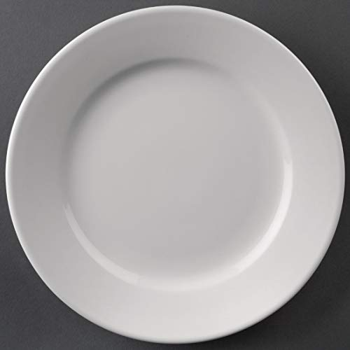 12X Athena Hotelware Wide Rimmed Service Plates 8 In Porcelain White