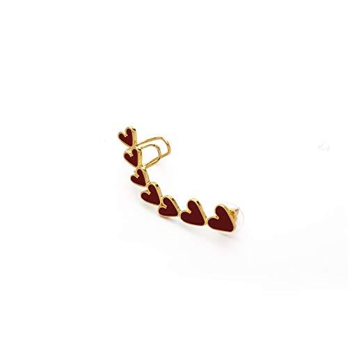 Moda Negro Blanco Rojo Pequeño Corazón Ear-Jakets para Mujer Señoras Romántico Puños Largos Puños Corazón (Metal Color : Red)