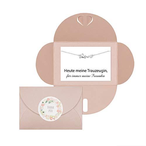 Lillyville - Trauzeugin Geschenk mit Love Armband Silber und Karte - Heute Trauzeugin, für Immer Meine Freundin - Hochzeit Armkette - Umschlag Rosa