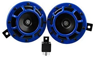 Anngo Eletric Car Horn Kit 12V 135db Super Loud High Tone and Low Tone Metal Twin Horn Kit with Bracket for Cars Trucks SUVs RVs Vans Motorcycles Off Road Boats (Blue)