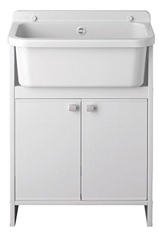 Mueble y lavabo de doble puerta 55 x 34 x 79 cm, bañera con tabla de lavado.