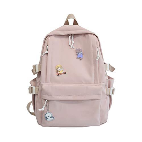 LZL Mochilas Bolsas de escuelas de Color sólido -Cartoons Casual Daypacks Jóvenes Versión Coreana Sencillez Mochilas, Viajes, Escuela Mochila (Color : Pink)