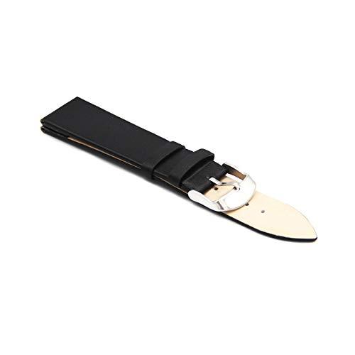 Pulseras de Cuero auténtico Correas de Reloj de 12mm-22mm Reloj Accesorios Hombres de Las Mujeres del Reloj de la Correa de reemplazo Negro, 18mm