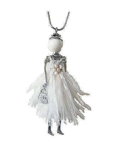 Kette Halskette Lange Kette Brosche 2 in 1 mit Anhänger Puppe Dame Frau Kleid Feder Tasche Weiss