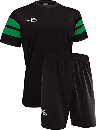 HS S17, Kit Calcio Unisex – Adulto, Nero/Verde, M