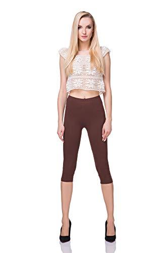 FUTURO FASHION - Leggings mit 3/4-Länge - Baumwolle - extra bequem - Übergrößen - Braun - 40 (L)